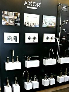 I saw this in a showroom in my hometown.. The first square is a collage of 6 pictures; all examples of real life axor bathrooms. The second square has profiles of 6 @Hansgrohe SE USA designers; Starck, Citterio, Phoenix Design, Massuad, and Urquiola. The third square is a real life example of an Urquiola bathroom. #bathroomdreams