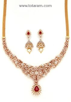 18K Rose Gold Polish Diamond Necklace & Earrings Set with Ruby,Onyx Stones & South Sea Pearls - DS692 - Indian Jewelry Designs from Totaram Jewelers