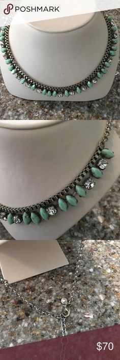 "J. Crew Green Silver Jeweled Necklace Simulated stones.  Silver tone.  Adjustable. 22"". J. Crew Jewelry Necklaces"