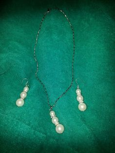 Pearls AAA W/CZ, Sterling Necklace & Earrings Set-Beautiful Ships from U.S.-fast  SALE! EBay ID's  debpark94_attic   & tigerllc24