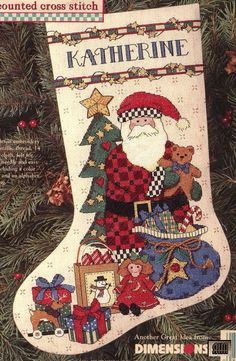 Santa Cross Stitch, Cross Stitch Christmas Stockings, Cross Stitch Stocking, Christmas Applique, Cross Stitch Boards, Cross Stitch Needles, Christmas Cross, Cross Stitching, Cross Stitch Embroidery