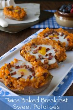Classic side dish turned into the perfect breakfast entree. Bacon and eggs make these twice baked breakfast sweet potatoes great for brunch.