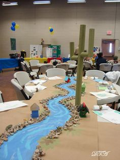 Camping Themed Blue and Gold Banquet Jungle Decorations, Birthday Decorations, Gold Decorations, Outdoor Kitchen Cabinets, Small World Play, Banquet Tables, Banquet Centerpieces, Vbs Crafts, Eagle Scout