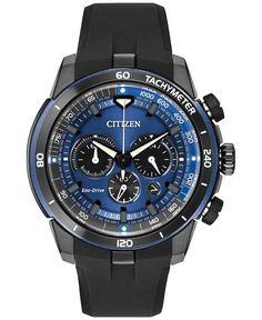 Citizen Men's Chronograph Eco-Drive Ecosphere Black Polyurethane Strap Watch 48mm CA4155-12L