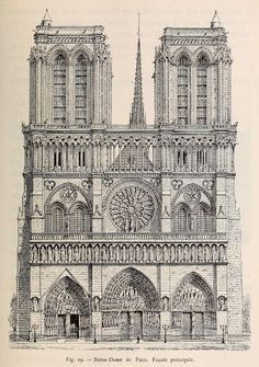 Front elevation of Notre Dame Cathedral, Paris: