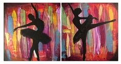 Title: Urban Ballerinas Size: 2 12x12 canvases. (12x24 in total) Medium: Acrylic Paint Date: 2014  My love for the dancers body comes from my own
