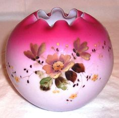 MT Washington Art Glass Rose Bowl Hand Painted Florals Cased Cranberry Satin | eBay