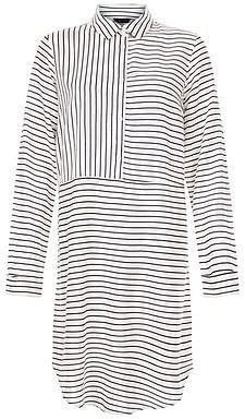 Womens black and white contrast stripe longline shirt from New Look - £22.99 at ClothingByColour.com