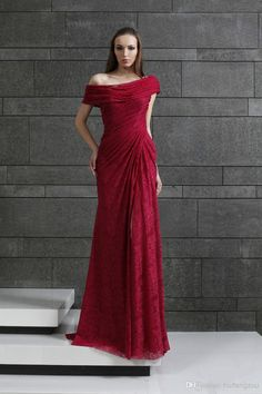 2015 Tony Ward Wine Red Off Shoulder Lace Pleated Backless Vintage Side Split Evening Dresses Gowns Fashion Dress Floor Length Pink Evening Dress Plus Size Evening Dresses With Sleeves From Huifangzou, $155.76| Dhgate.Com