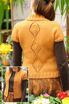 Free knitting pattern for Leaflet Cardigan - Short sleeved sweater with leaf lace design on back. Sizes 31.5[34.75, 37.75, 41, 44.25, 47.5, 50.75] inches, Designed by Cecily Glowik MacDonald for Knitty. Aran weight yarn.