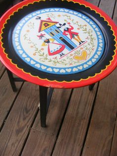Vintage Colorful  Pennsylvania Dutch Folk Art metal tray and stand, vintage serving table