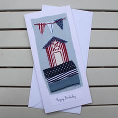Birthday Card Handmade Hand Sewn Fabric Seaside Beach
