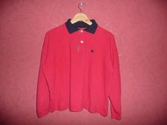 Vintage Burberrys of London red cotton polo t-shirt sweater sz L