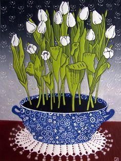 Linocut Print - White Tulips, Diana Ashdown – CultureLabel