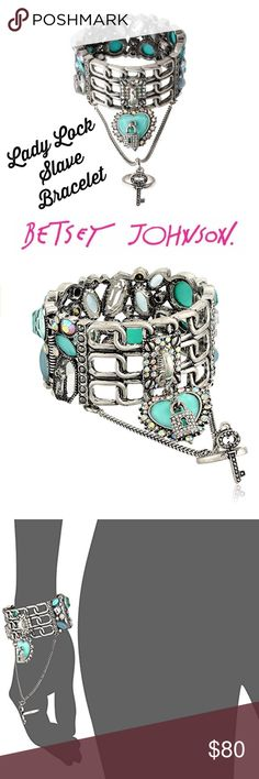 Betsey Johnson Lady Lock Cuff & Ring in Aqua Rare and gorgeous!  From Betsey's Lady Lock collection in Aqua and silver tone.  Difficult to find and is a collectors item!  I also have a small Lady Lock hinge Bangle listed.  100% authenticity guaranteed- I have receipt.  You won't need proof when you see this though!  You'll know it is the real deal!  Great gift for a Betsey fan or collector! Betsey Johnson Jewelry Bracelets