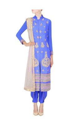 bright blue staright suit with draped dhoti