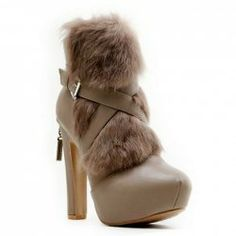 $27.90 Fashion Women's Short Boots With Cross-Straps and Faux Fur Design