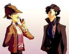 i wear a deerstalker now by ~Blue-Fox. Sherlock is not impressed, though I am totally impressed by the Doctor's sonic pipe.