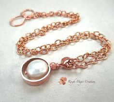 Pearl Pendant Necklace Hand Forged Copper by RoughMagicCreations