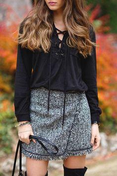 trendy skirt, wool skirt, grey skirt, fringe skirt - Lyfie