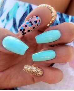 POPPIN' color combo, so cute! | coffin shaped nails | nail art ideas | acrylic | gel | unas