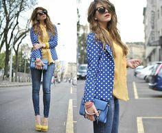blue white polka dot blazer yellow blouse blue clutch