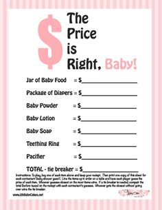 Baby Shower Games | The Price is Right Baby Shower Game (Pink) Not only fun, but great to keep in an album/baby book/ scrapbook