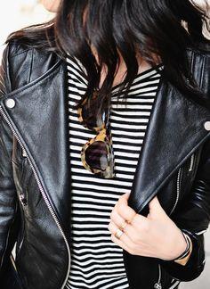 Marinière + perfecto + lunettes à larges montures en écaille = le bon mix (perfecto H&M - blog Her Imagination)