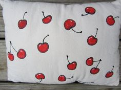 Small handpainted cherry pillow by TheHaunting on Etsy, $30.00