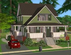 Mod The Sims - 759 Aparagus Avenue - A Green Craftsman Home Sims 2 House, Sims 2 Hair, The Sims 2, Home Cinema Room, Vertical Siding, Stair Walls, Cottages And Bungalows, Elegant Curtains, Stone Countertops