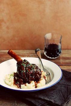 Braised Lamb Shanks in Port and Red Wine by Citrus and Candy.