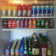 A rainbow of flavor: Khloe Kardashian's fridge is stocked with a colorful array of beverages, which she showed off on khloewithak.com on Tuesday