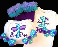 First Birthday Girl Outfit, Dragonfly, Purple, Turquoise, Lilac, Bodysuit, Bloomers, Legwarmers. $70.50, via Etsy.