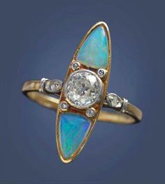 Art deco diamond and opal