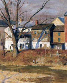 Landscape Painting 'Mechanic Street, New Hope' by American Impressionist Artist Daniel Garber