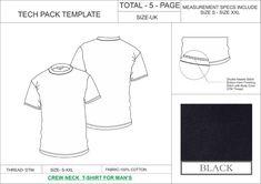 Tech Pack Template Half Sleeves Crew Neck T Shirt Mens Uk Regular Size