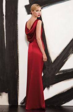 What an elegant gown...Black Tie Affair: St. John Collection Liquid Satin Gown #Nordstrom #Holiday #Designer
