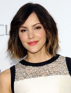 Ombre Hair for 2014: Katharine's Chic Short Wavy Hairstyle with Bangs