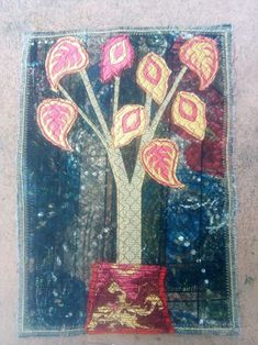 Containment #4 (2020). Quilt by Mariss Stevens. Machine applique and stitching. 30 x 21 cm. Machine Applique, Stitching, Quilts, Painting, Art, Costura, Art Background, Quilt Sets, Painting Art