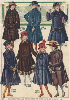 Vintage Fashion Print: Young Ladies Winter Coats 1917