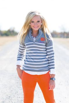 CLEMSON LUREX STRIPED QUARTER ZIP JACKET