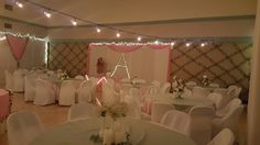 White pink and sage green reception hall