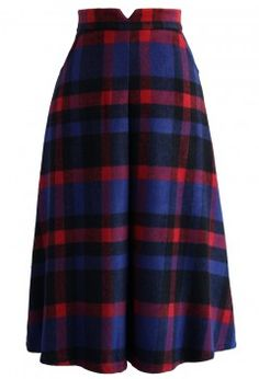 Timeless Plaids Wool-blend Midi Skirt - Retro, Indie and Unique Fashion