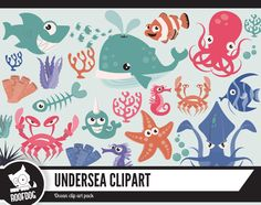 Ocean clipart | Bright sea creature clip art |  Undersea creature digital clipart | Commercial use | Printable instant download vector by RoofdogDesigns on Etsy