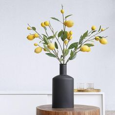 Three Faux Lemon Branches in Black Ceramic Vase Artificial Floral Arrangements, Artificial Plants, Flower Arrangements, Fake Plants Decor, Plant Decor, My Living Room, Living Room Decor, Vase With Branches, Types Of Lighting