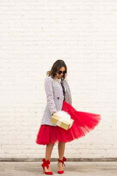 red tulle skirt with blazer and cute heels