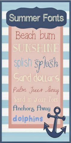 Melly Moments: Top of the List Tuesday: Font Fun (Summer Edition) Fancy Fonts, Cool Fonts, Nautical Fonts, Computer Font, Computer Class, Summer Font, Web Design, Graphic Design, Cricut Fonts