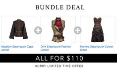 Budle Deal ! Cape Jacket + Corset + Corset Dress = $110 Only http://www.corsetdeal.com/collections/bundle-deal-1/products/olvir-steampunk-fashion-corset Hurry limited time offer !