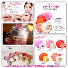 Etude Sweet Recipe Cupcake All Over Color.  Root extract of Marshmallow, cocoa seed butter, orange extract, lemon extract.  ~ Multi lip balm can be used as lip stick, blusher, and a eye shadow ~ Natural sense of color makes skin more alive and natural. ~ Non-sticky type and smooth texture. ~ Powdery texture can be used on top of make-up layer ~ Fresh fruits scent. Kunjungi www.koreanlolyshop.com.  Visit www.koreanlolyshop.com