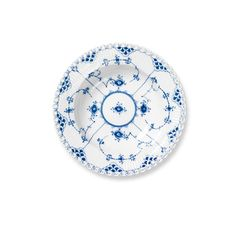 Royal Copenhagen - 'Blue Fluted' Collection, 'Full Lace' Pattern - Deep Plate